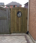 Custom Full Frame Gate with Wrought Iron Insert
